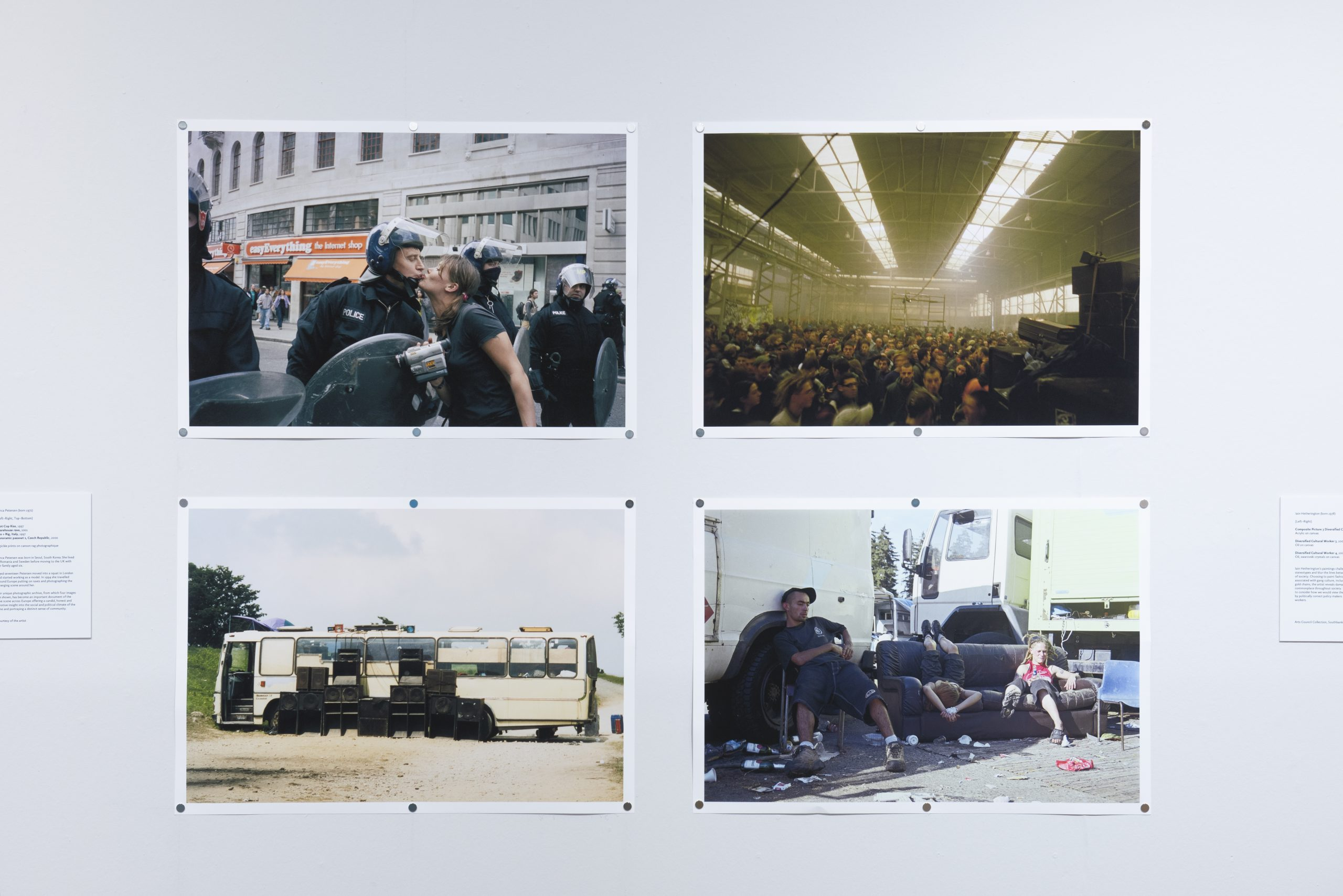 Riot Cop Kiss, 1997 Warehouse rave, 2001 Bus + Rig, Italy, 1997 Panoramic passout 1, Czech Republic, 2000 Logo
