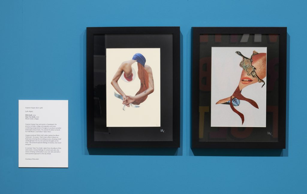 2 mixed media collages, surrealist portraits, frames and hung on a blue gallery wall.