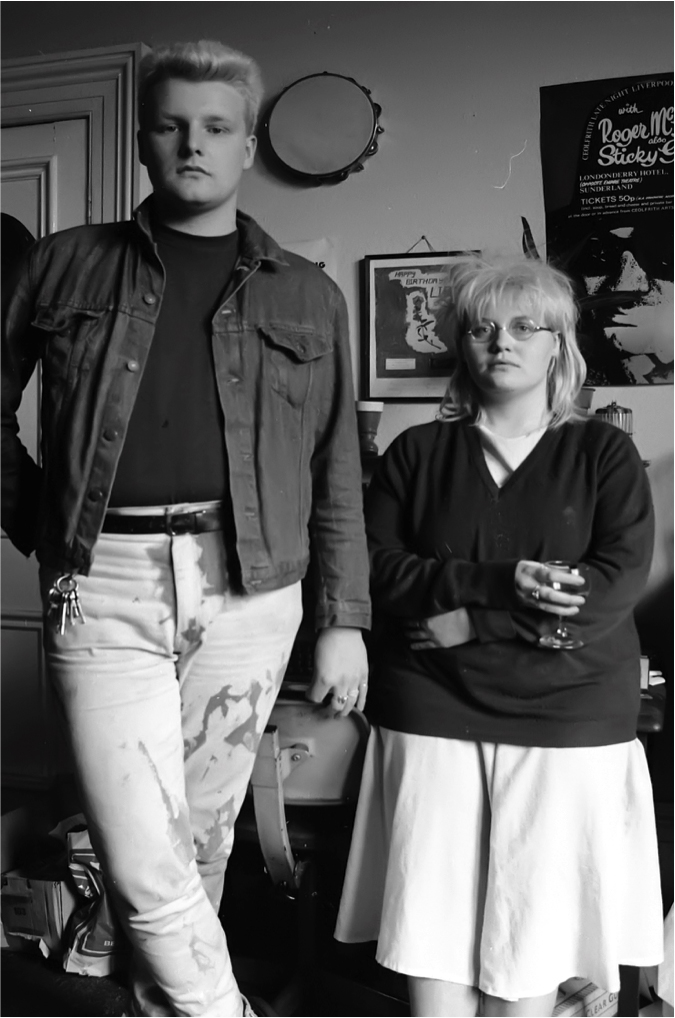 John Emmerson and Lisa Campbell Poet, Sunderland Musicians Collective Bunker Committee 1984 Image by Mick Catmull Logo