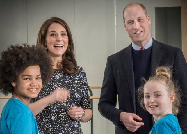 The Duke and Duchess of Cambridge meet young dancers at The Fire Station. Logo