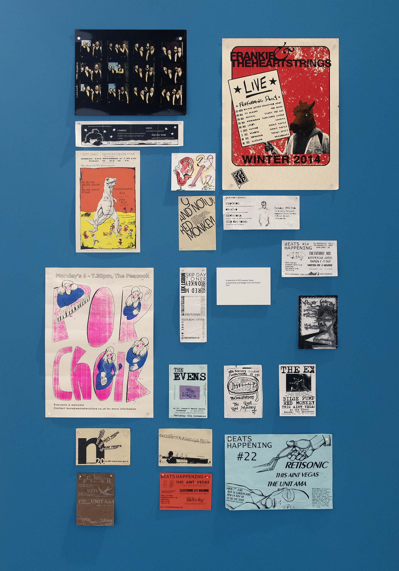 A selection of DIY posters, flyers, programmes and badges from the North East Logo